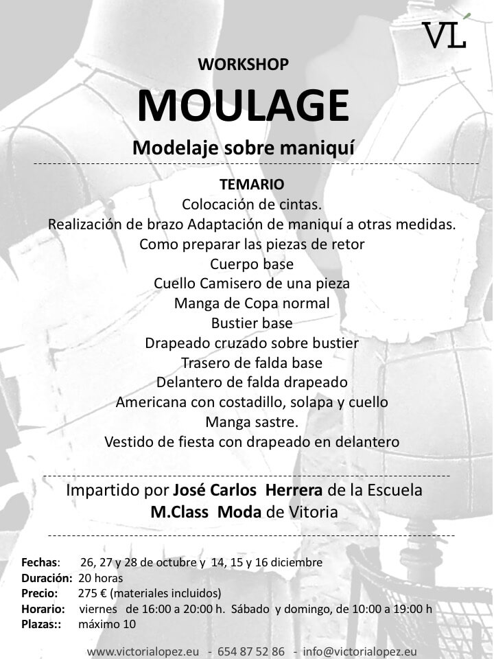MOULAGE ZARAGOZA CURSO COSTURA MODELAJE SOBRE MANIQUI VICTORIA LOPEZ2